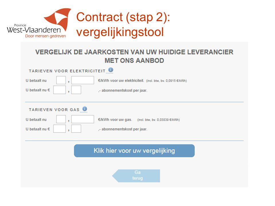 Contract (stap 2): vergelijkingstool