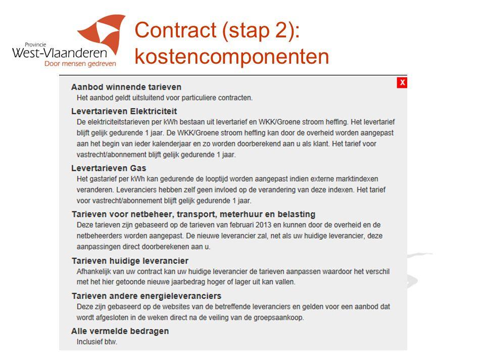 Contract (stap 2): kostencomponenten
