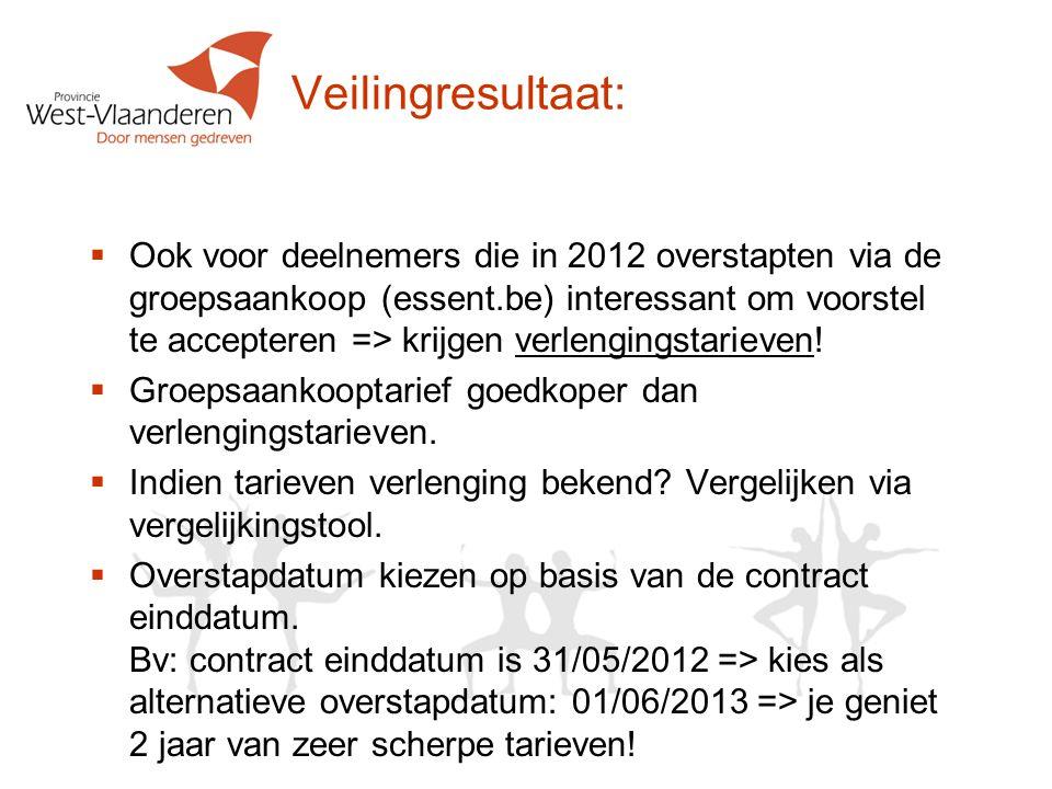 Veilingresultaat:  Ook voor deelnemers die in 2012 overstapten via de groepsaankoop (essent.be) interessant om voorstel te accepteren => krijgen verlengingstarieven.
