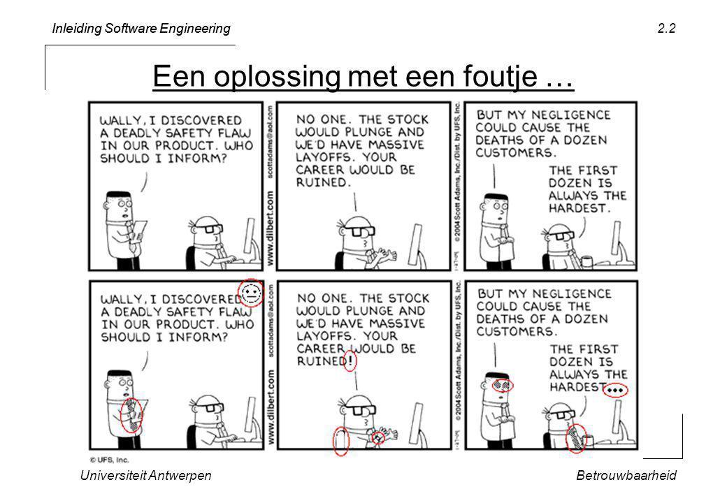 Inleiding Software Engineering Universiteit AntwerpenBetrouwbaarheid 2.2 Een oplossing met een foutje …