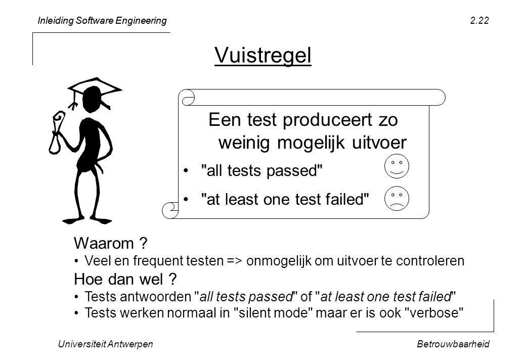 Inleiding Software Engineering Universiteit AntwerpenBetrouwbaarheid 2.22 Vuistregel Een test produceert zo weinig mogelijk uitvoer all tests passed at least one test failed Waarom .