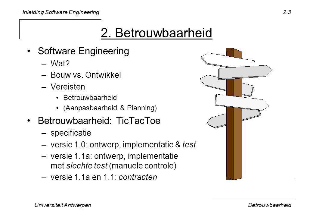 Inleiding Software Engineering Universiteit AntwerpenBetrouwbaarheid 2.24 De vorige testcode produceert volgende uitvoer BEGIN OF GAME: aGame.notDone() = TRUE a-1:O =.