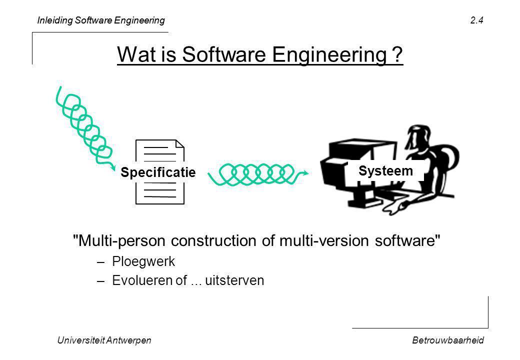 Inleiding Software Engineering Universiteit AntwerpenBetrouwbaarheid 2.35 TYPE TicTacToe* = POINTER TO TicTacToeData; TicTacToeData* = RECORD initCheck: TicTacToe; … END; PROCEDURE (t: TicTacToe) properlyInitialized* (): BOOLEAN; BEGIN RETURN t.initCheck = t; END properlyInitialized; Wijst normaal naar zichzelf Object heeft een extra pointer …
