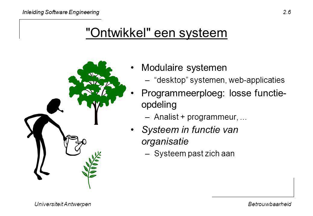 Inleiding Software Engineering Universiteit AntwerpenBetrouwbaarheid 2.7 Vereisten Betrouwbaarheid Aanpasbaarheid Planning Technieken Testen + Contracten Objectgericht ontwerp Tijdsschatting