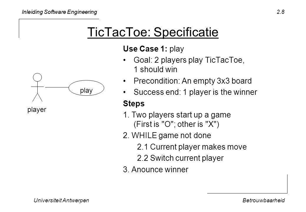 Inleiding Software Engineering Universiteit AntwerpenBetrouwbaarheid 2.39 TicTacToeGame (1.1) aGame: TicTacToe : TicTacToe Game *[aGame.notDone()] displayMove () play displayGame() doMove() writeOn(w)