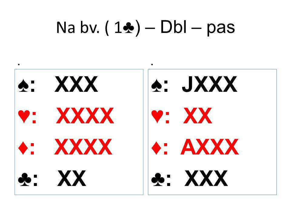 Na bv. ( 1 ♣) – Dbl – pas. ♠: XXX ♥: XXXX ♦: XXXX ♣: XX. ♠: JXXX ♥: XX ♦: AXXX ♣: XXX