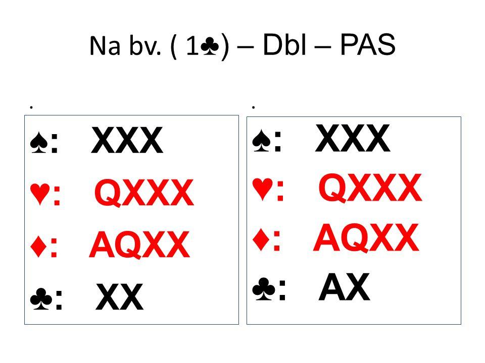 Na bv. ( 1 ♣) – Dbl – PAS. ♠: XXX ♥: QXXX ♦: AQXX ♣: XX. ♠: XXX ♥: QXXX ♦: AQXX ♣: AX