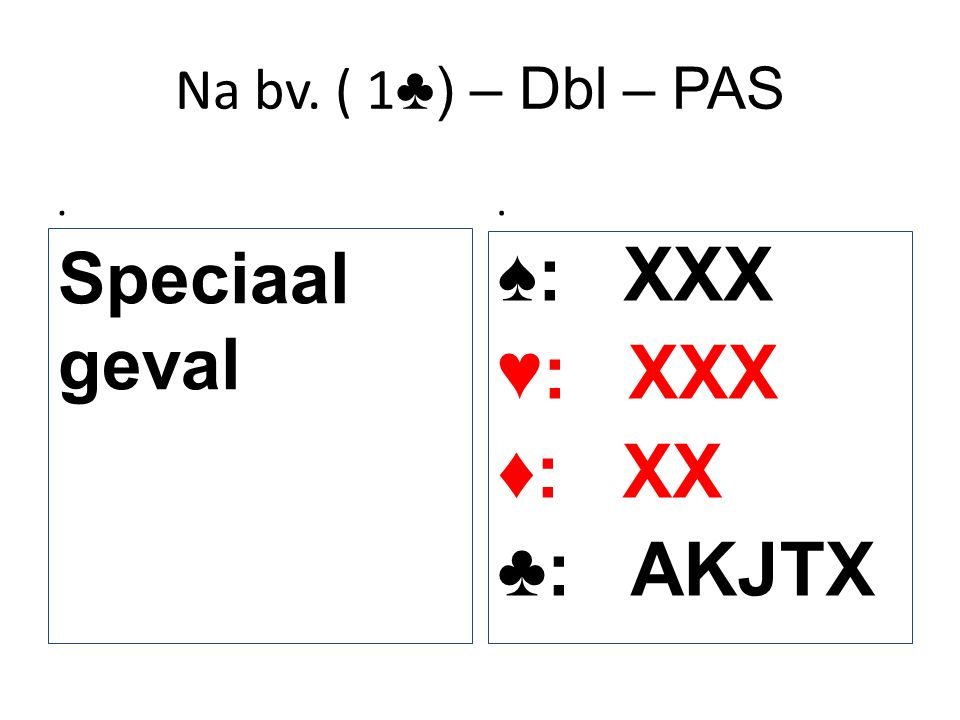 Na bv. ( 1 ♣) – Dbl – PAS. Speciaal geval. ♠: XXX ♥: XXX ♦: XX ♣: AKJTX