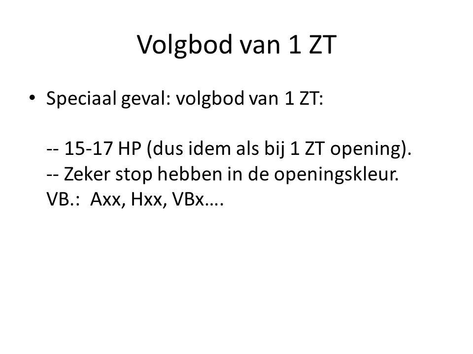 Volgbod van 1 ZT Speciaal geval: volgbod van 1 ZT: -- 15-17 HP (dus idem als bij 1 ZT opening).
