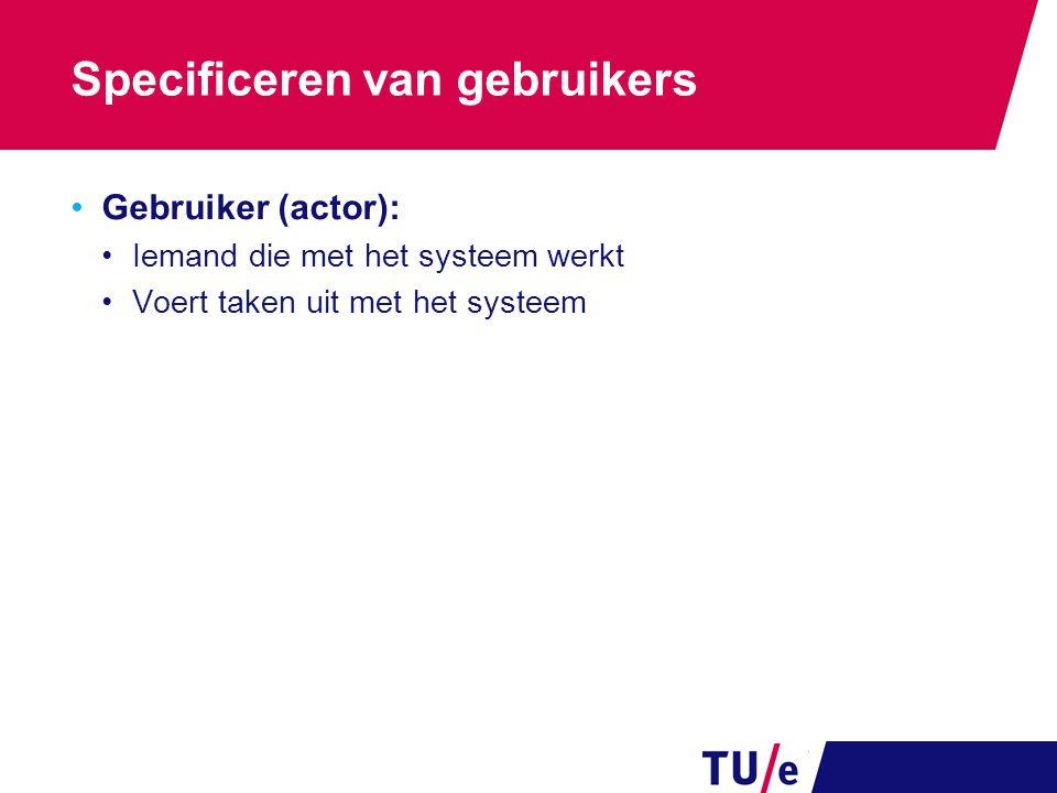 Specificeren van gebruikers Gebruiker (actor): Iemand die met het systeem werkt Voert taken uit met het systeem