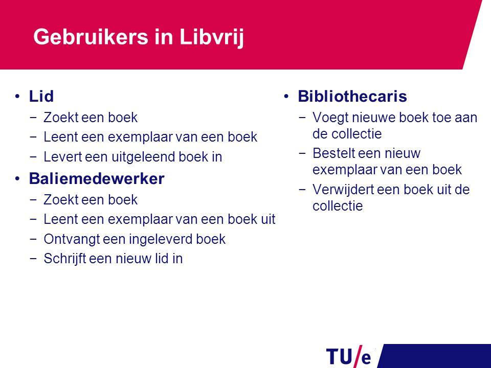 Gebruikers in Libvrij Lid −Zoekt een boek −Leent een exemplaar van een boek −Levert een uitgeleend boek in Baliemedewerker −Zoekt een boek −Leent een