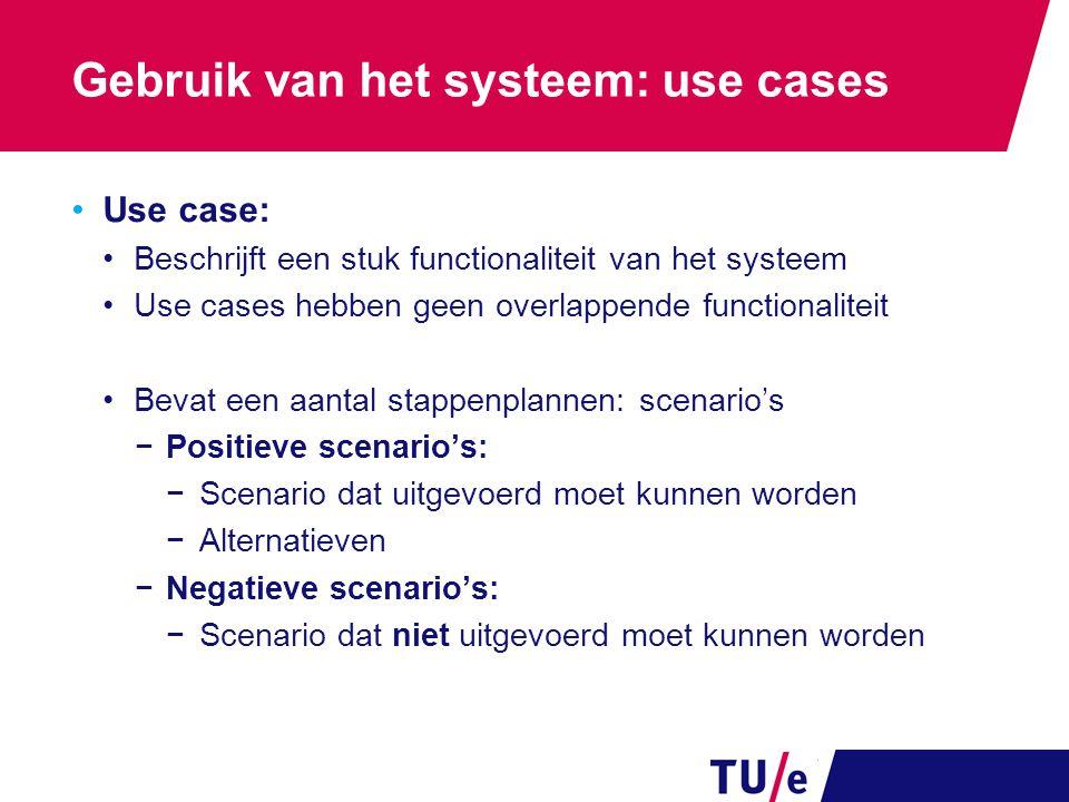 Gebruik van het systeem: use cases Use case: Beschrijft een stuk functionaliteit van het systeem Use cases hebben geen overlappende functionaliteit Be