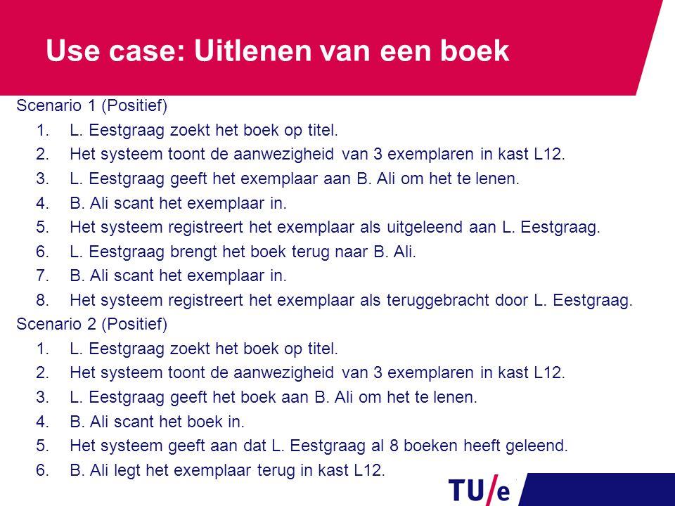 Use case: Uitlenen van een boek Scenario 1 (Positief) 1.L. Eestgraag zoekt het boek op titel. 2.Het systeem toont de aanwezigheid van 3 exemplaren in