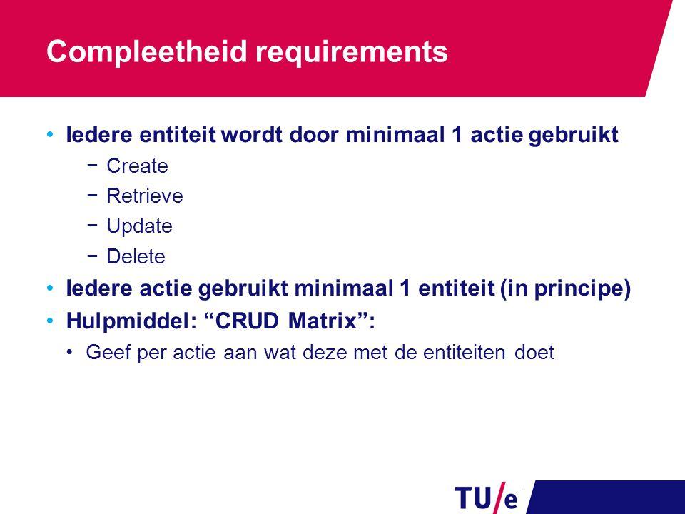 Compleetheid requirements Iedere entiteit wordt door minimaal 1 actie gebruikt −Create −Retrieve −Update −Delete Iedere actie gebruikt minimaal 1 enti
