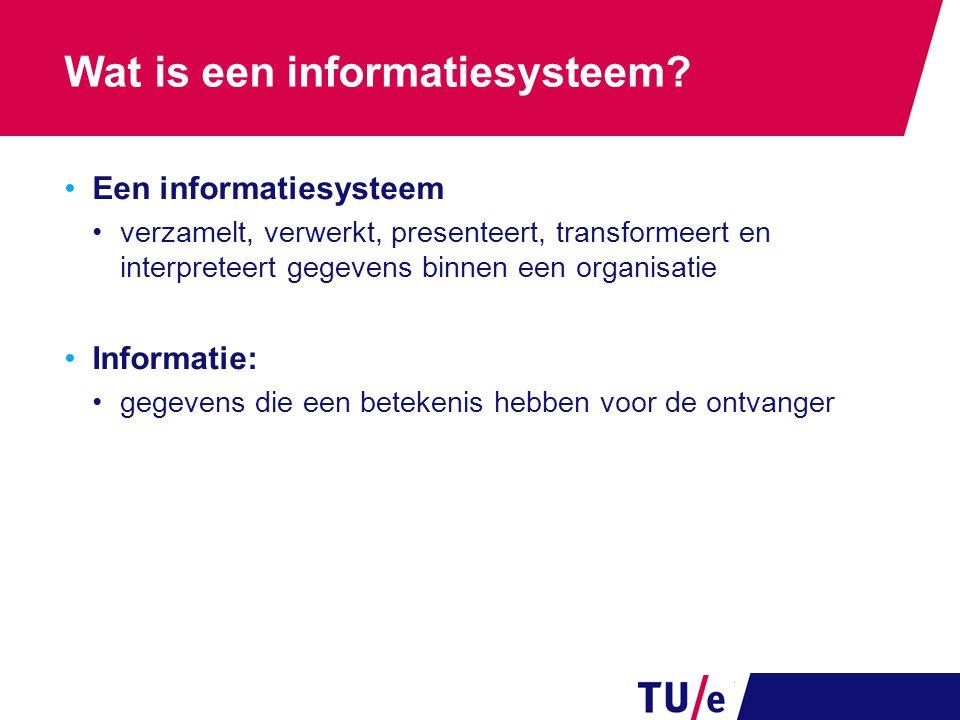 Wat is een informatiesysteem? Een informatiesysteem verzamelt, verwerkt, presenteert, transformeert en interpreteert gegevens binnen een organisatie I