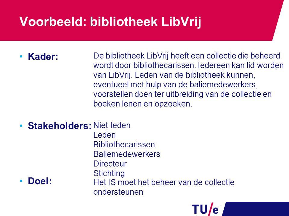 Voorbeeld: bibliotheek LibVrij Kader: Stakeholders: Doel: Niet-leden Leden Bibliothecarissen Baliemedewerkers Directeur Stichting De bibliotheek LibVr