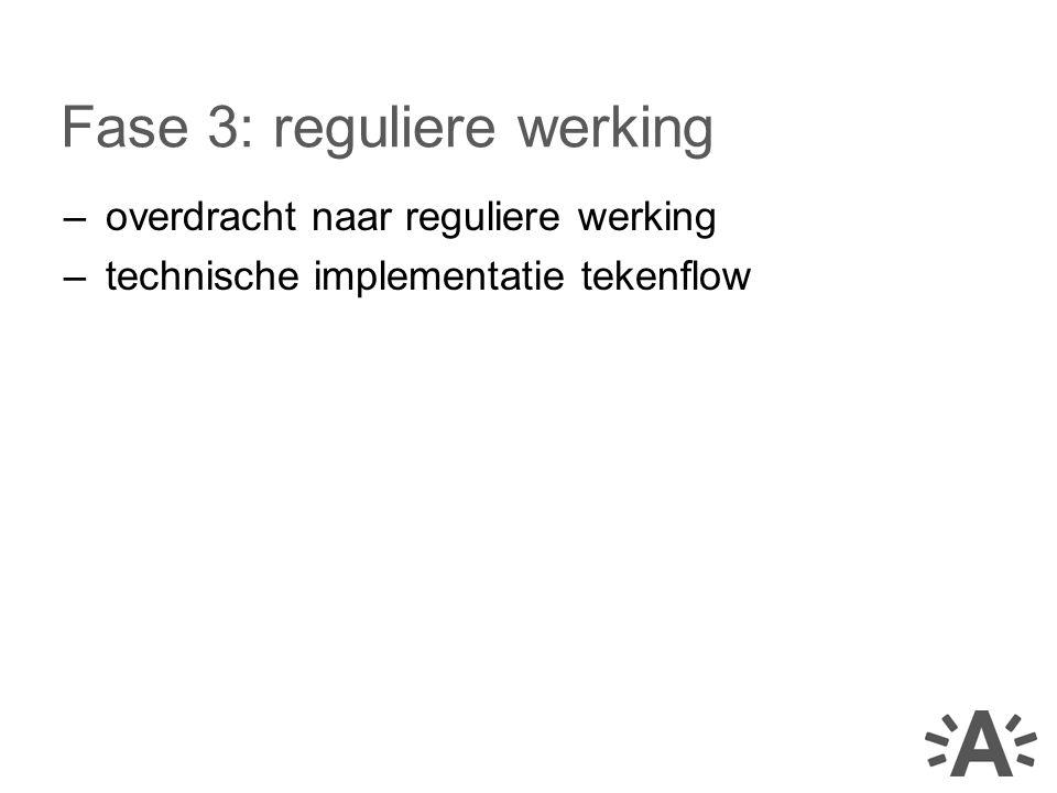 –overdracht naar reguliere werking –technische implementatie tekenflow Fase 3: reguliere werking