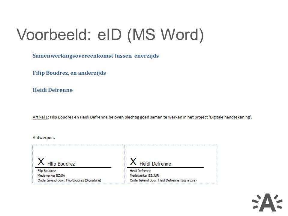 Voorbeeld: eID (MS Word)