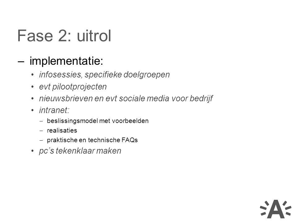 –implementatie: infosessies, specifieke doelgroepen evt pilootprojecten nieuwsbrieven en evt sociale media voor bedrijf intranet: – beslissingsmodel met voorbeelden – realisaties – praktische en technische FAQs pc's tekenklaar maken Fase 2: uitrol