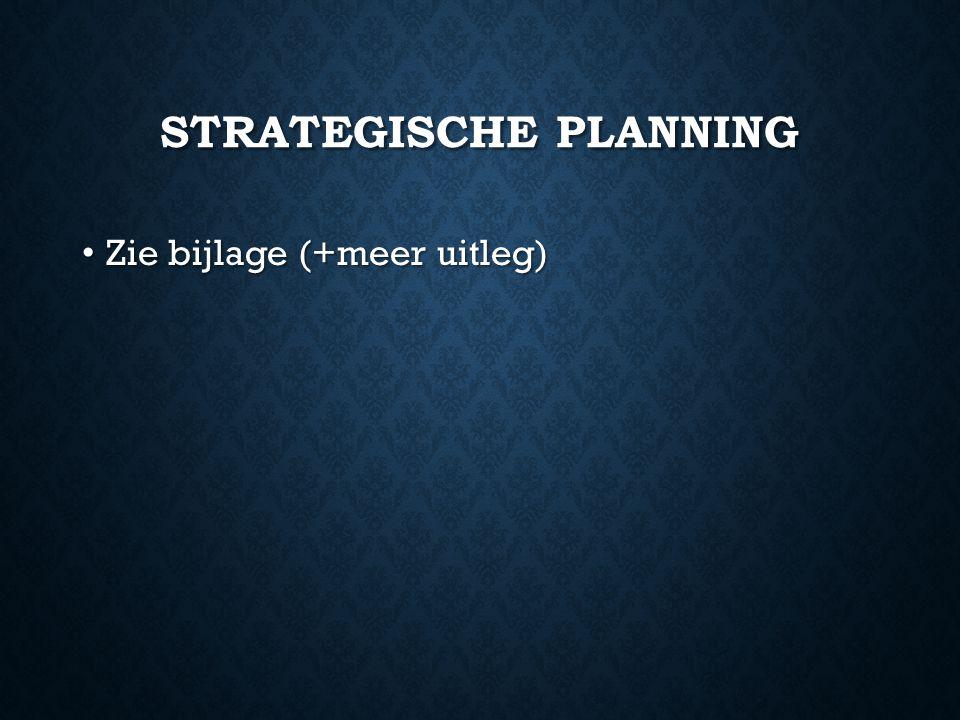 STRATEGISCHE PLANNING Zie bijlage (+meer uitleg) Zie bijlage (+meer uitleg)