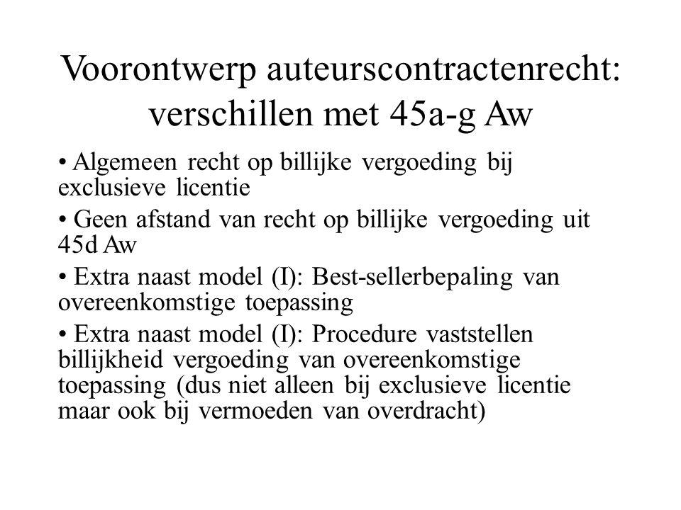 Voorontwerp auteurscontractenrecht: verschillen met 45a-g Aw Algemeen recht op billijke vergoeding bij exclusieve licentie Geen afstand van recht op billijke vergoeding uit 45d Aw Extra naast model (I): Best-sellerbepaling van overeenkomstige toepassing Extra naast model (I): Procedure vaststellen billijkheid vergoeding van overeenkomstige toepassing (dus niet alleen bij exclusieve licentie maar ook bij vermoeden van overdracht)