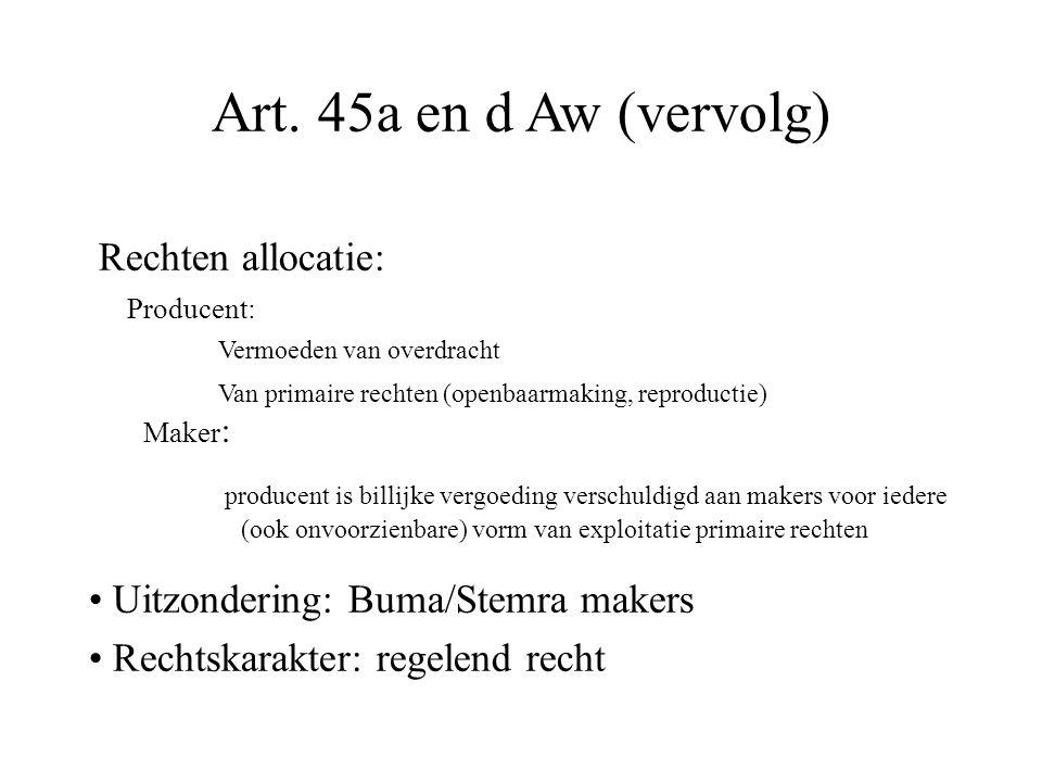 Art. 45a en d Aw (vervolg) Rechten allocatie: Producent: Vermoeden van overdracht Van primaire rechten (openbaarmaking, reproductie) Maker : producent