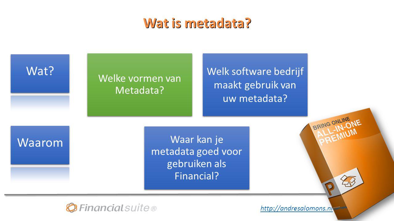http://andresalomons.nl Wat is metadata.Welke vormen van Metadata.
