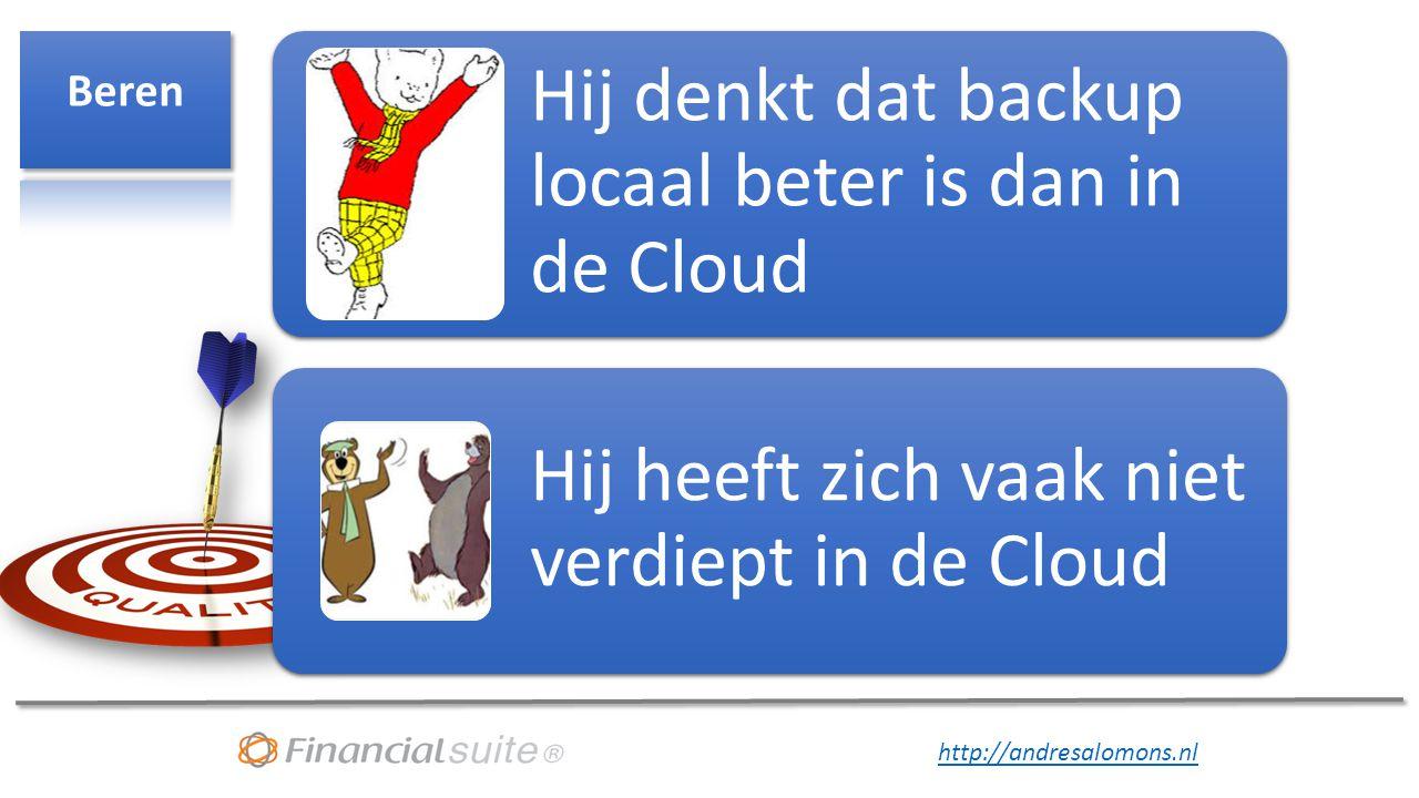 http://andresalomons.nl Hij denkt dat backup locaal beter is dan in de Cloud Hij heeft zich vaak niet verdiept in de Cloud