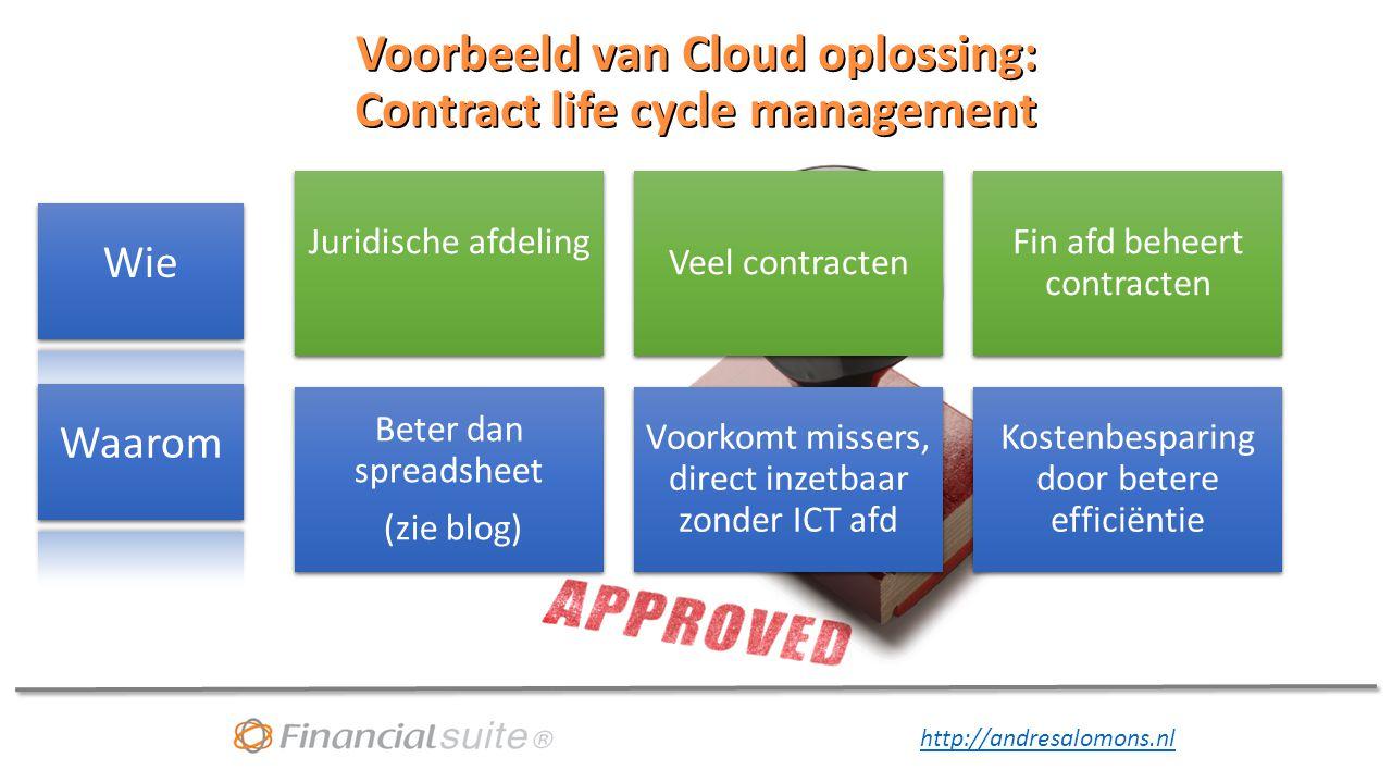 http://andresalomons.nl Voorbeeld van Cloud oplossing: Contract life cycle management Juridische afdeling Veel contracten Fin afd beheert contracten Beter dan spreadsheet (zie blog) Voorkomt missers, direct inzetbaar zonder ICT afd Kostenbesparing door betere efficiëntie