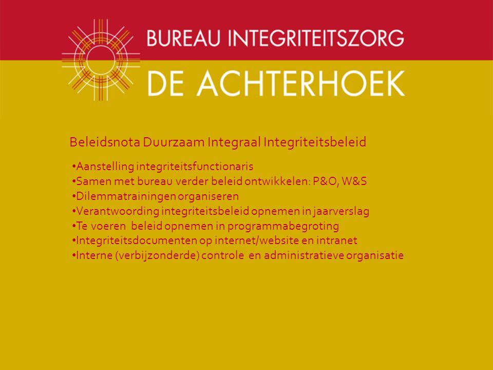 Beleidsnota Duurzaam Integraal Integriteitsbeleid Aanstelling integriteitsfunctionaris Samen met bureau verder beleid ontwikkelen: P&O, W&S Dilemmatra