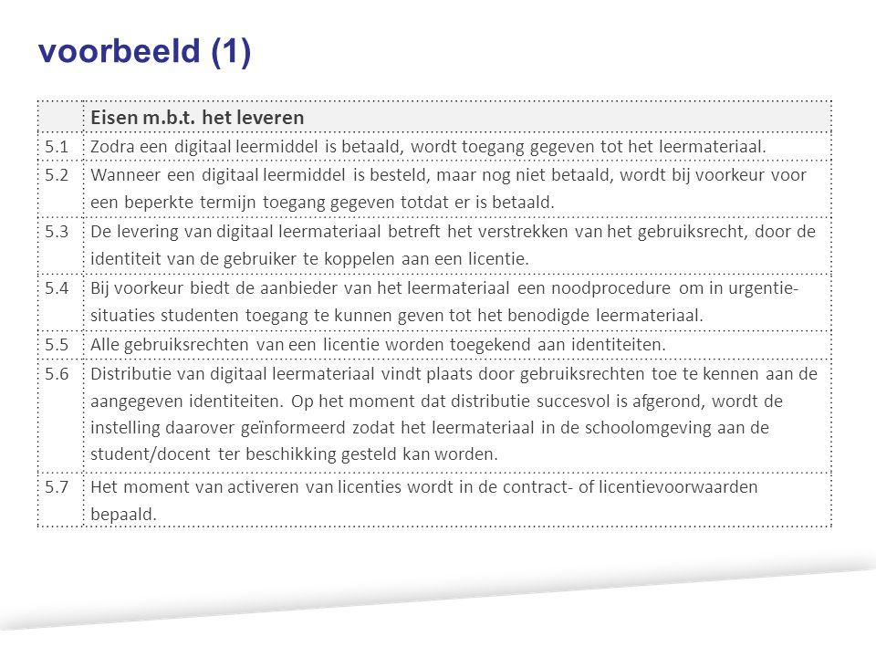 voorbeeld (1) Eisen m.b.t. het leveren 5.1Zodra een digitaal leermiddel is betaald, wordt toegang gegeven tot het leermateriaal. 5.2 Wanneer een digit
