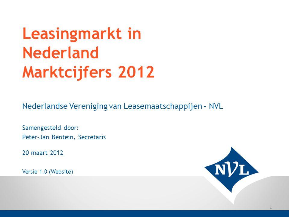 Leasingmarkt in Nederland Marktcijfers 2012 Nederlandse Vereniging van Leasemaatschappijen – NVL Samengesteld door: Peter-Jan Bentein, Secretaris 20 m