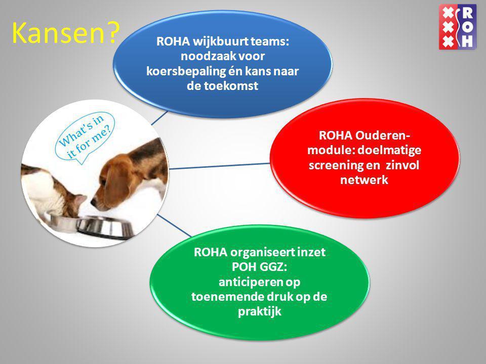 ROHA wijkbuurt teams: noodzaak voor koersbepaling én kans naar de toekomst ROHA Ouderen- module: doelmatige screening en zinvol netwerk ROHA organisee