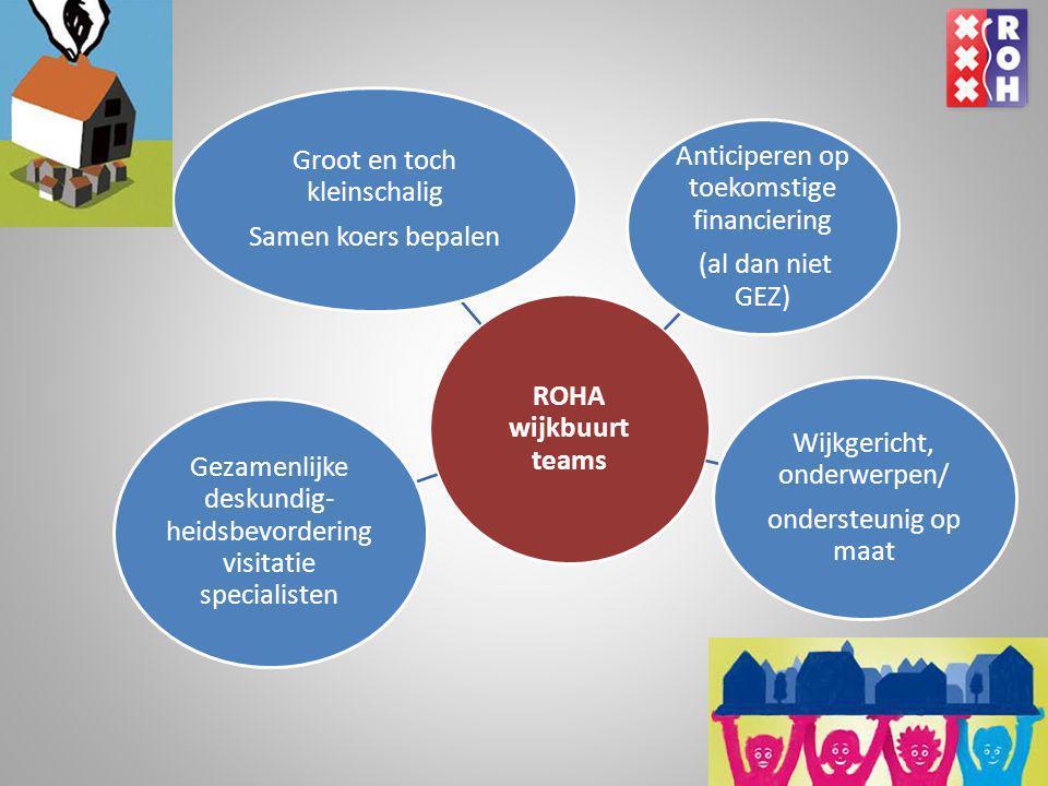 ROHA wijkbuurt teams Groot en toch kleinschalig Samen koers bepalen Wijkgericht, onderwerpen/ ondersteunig op maat Anticiperen op toekomstige financie