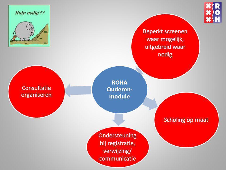ROHA Ouderen- module Consultatie organiseren Scholing op maat Ondersteuning bij registratie, verwijzing/ communicatie Beperkt screenen waar mogelijk,