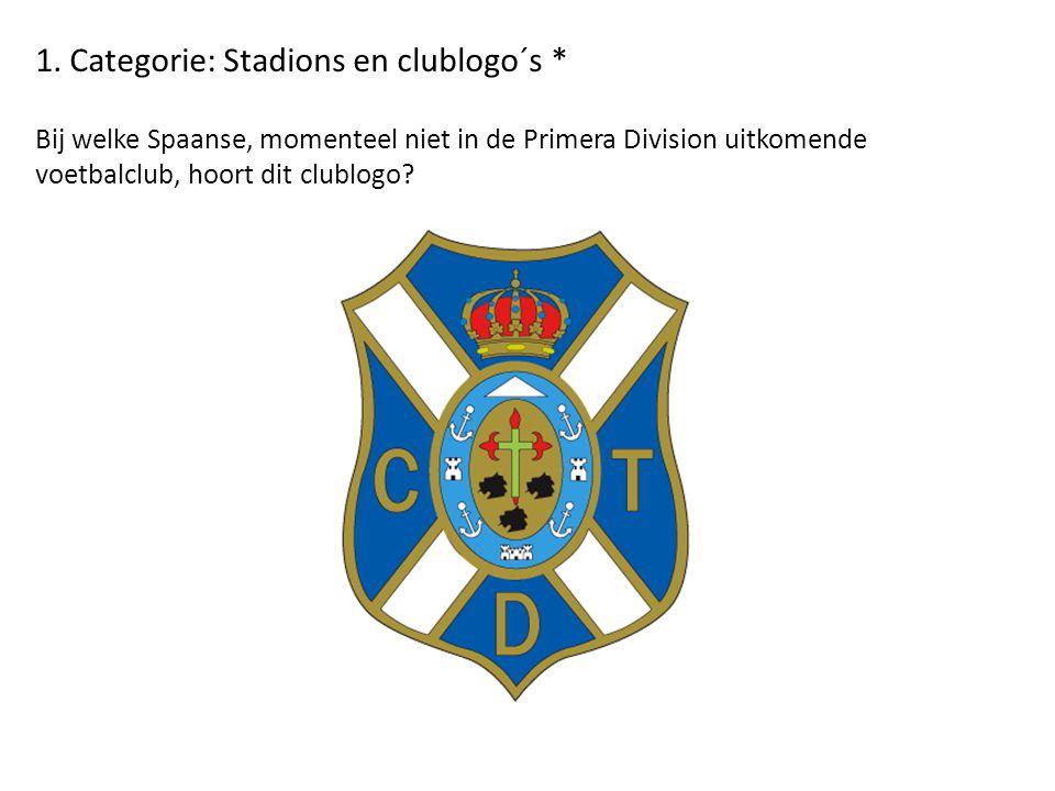 1. Categorie: Stadions en clublogo´s * Bij welke Spaanse, momenteel niet in de Primera Division uitkomende voetbalclub, hoort dit clublogo?