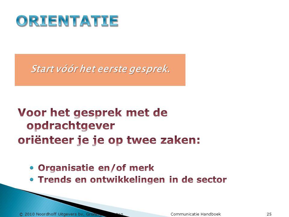 © 2010 Noordhoff Uitgevers bv, Groningen/Houten Communicatie Handboek 25 Start vóór het eerste gesprek.