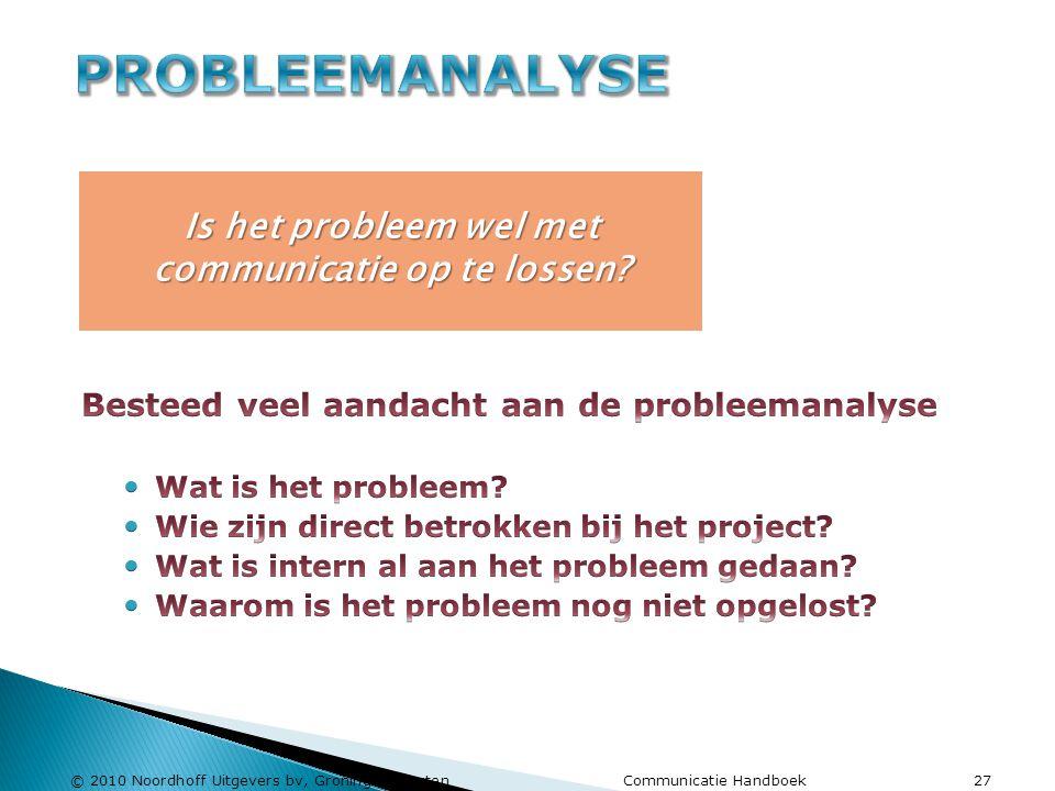 © 2010 Noordhoff Uitgevers bv, Groningen/Houten Communicatie Handboek 27 Is het probleem wel met communicatie op te lossen?
