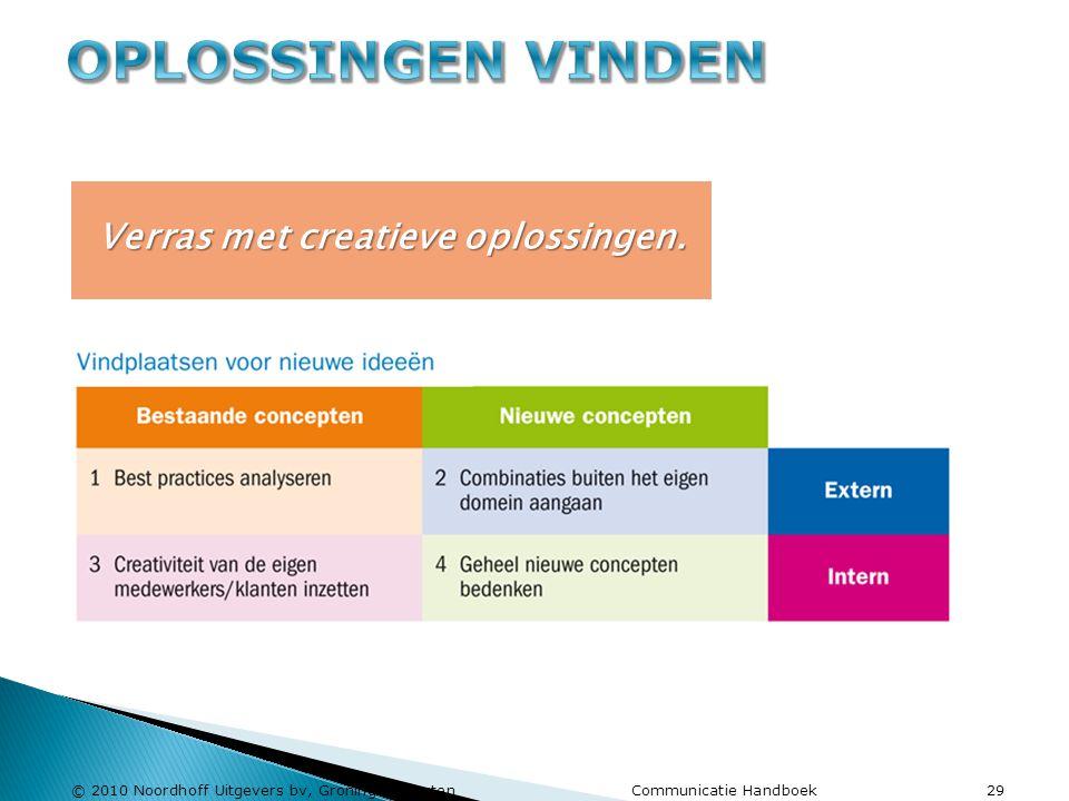© 2010 Noordhoff Uitgevers bv, Groningen/Houten Communicatie Handboek 29 Verras met creatieve oplossingen.