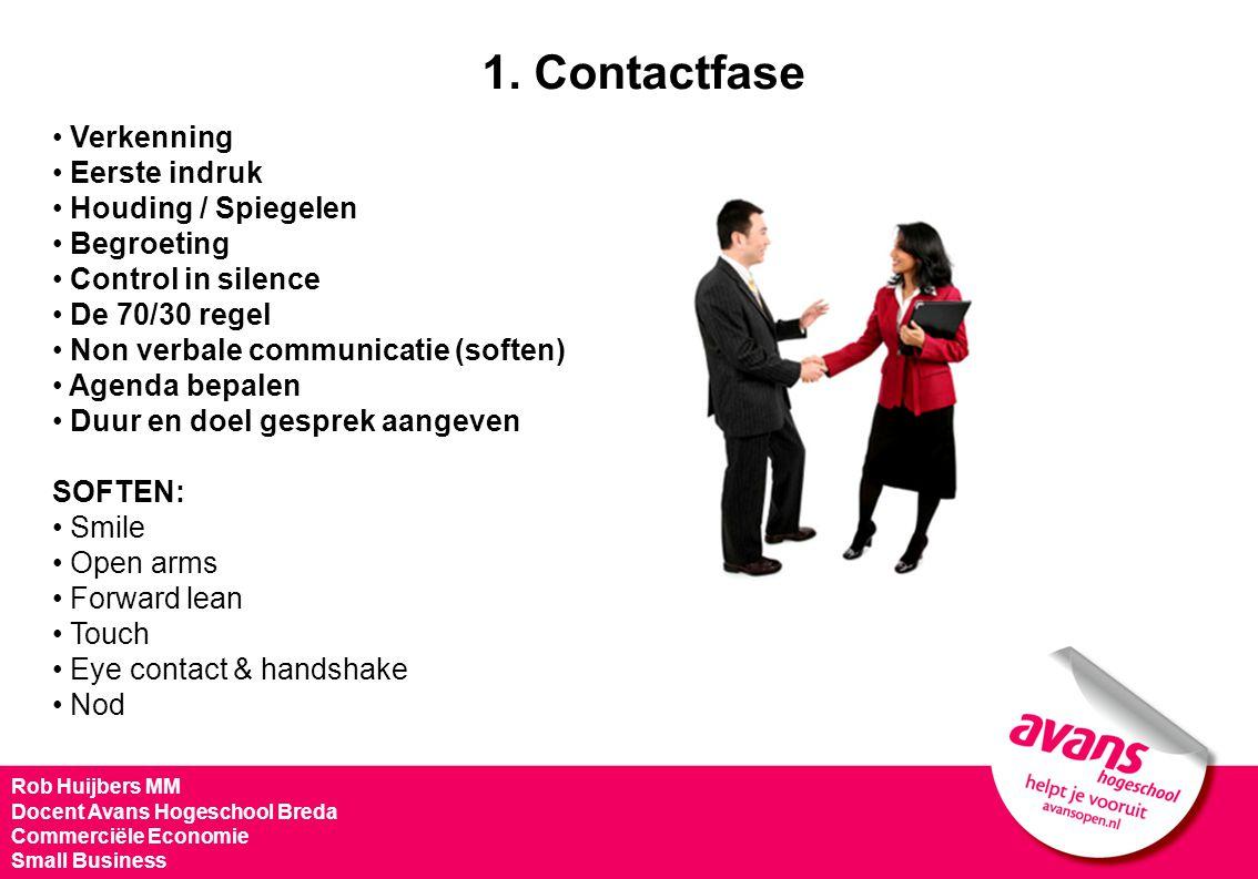 1. Contactfase Verkenning Eerste indruk Houding / Spiegelen Begroeting Control in silence De 70/30 regel Non verbale communicatie (soften) Agenda bepa