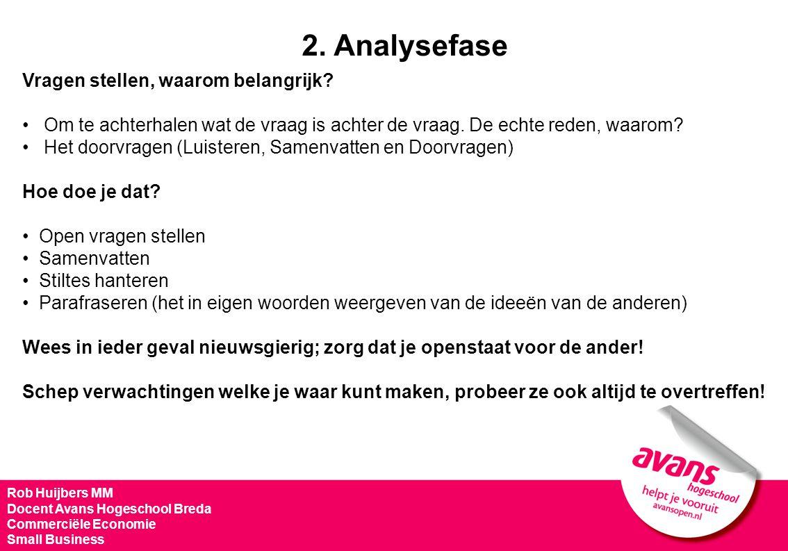 Rob Huijbers MM Docent Avans Hogeschool Breda Commerciële Economie Small Business Vragen stellen, waarom belangrijk? Om te achterhalen wat de vraag is