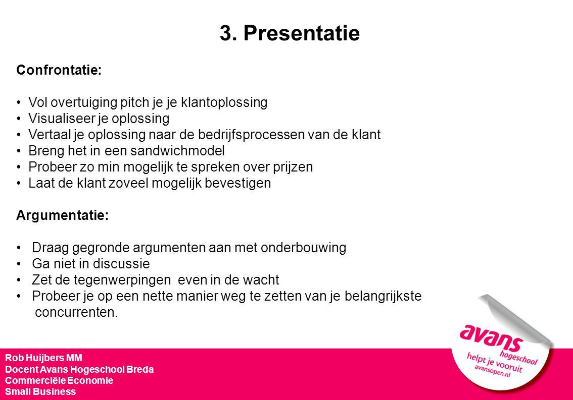 Rob Huijbers MM Docent Avans Hogeschool Breda Commerciële Economie Small Business Confrontatie: Vol overtuiging pitch je je klantoplossing Visualiseer