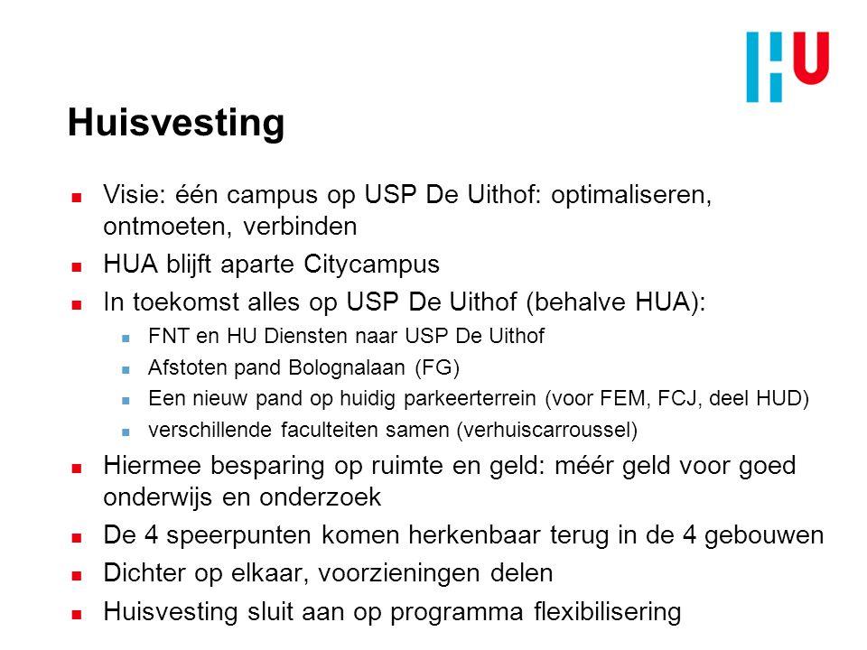 Huisvesting n Visie: één campus op USP De Uithof: optimaliseren, ontmoeten, verbinden n HUA blijft aparte Citycampus n In toekomst alles op USP De Uit
