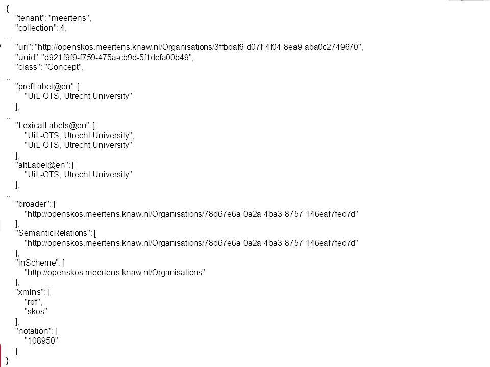 API voorbeelden Concept resolve –api/concept?id=http://openskos.meertens.knaw. nl/Organisations/78d67e6a-0a2a-4ba3-8757- 146eaf7fed7d&format=htmlapi/c
