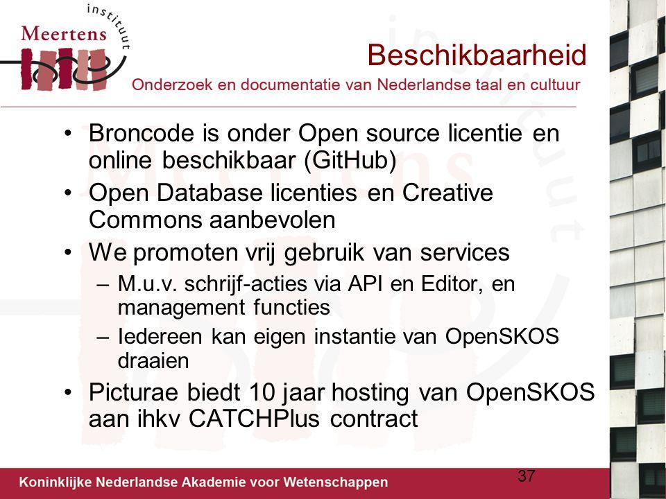 Beschikbaarheid Broncode is onder Open source licentie en online beschikbaar (GitHub) Open Database licenties en Creative Commons aanbevolen We promot