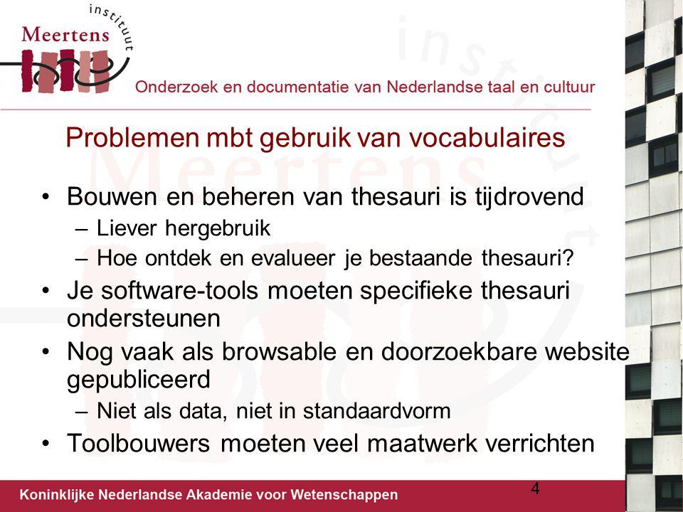 Problemen mbt gebruik van vocabulaires Bouwen en beheren van thesauri is tijdrovend –Liever hergebruik –Hoe ontdek en evalueer je bestaande thesauri?