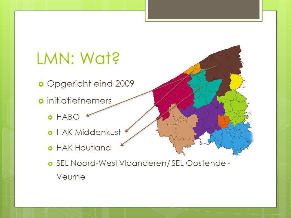 LMN: Wat?  Opgericht eind 2009  initiatiefnemers  HABO  HAK Middenkust  HAK Houtland  SEL Noord-West Vlaanderen/ SEL Oostende - Veurne