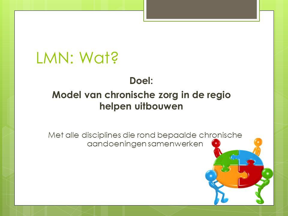 LMN: Wat? Doel: Model van chronische zorg in de regio helpen uitbouwen Met alle disciplines die rond bepaalde chronische aandoeningen samenwerken