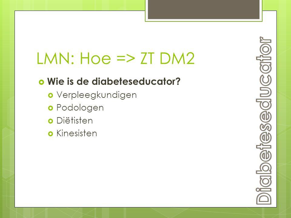LMN: Hoe => ZT DM2  Wie is de diabeteseducator?  Verpleegkundigen  Podologen  Diëtisten  Kinesisten