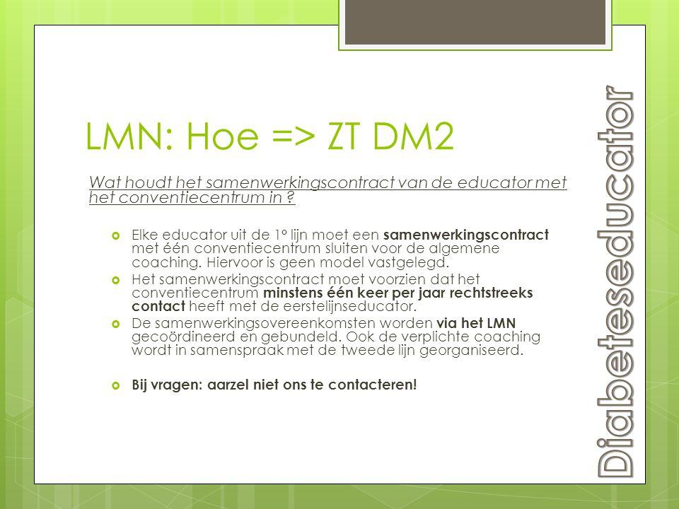 LMN: Hoe => ZT DM2 Wat houdt het samenwerkingscontract van de educator met het conventiecentrum in ?  Elke educator uit de 1° lijn moet een samenwerk